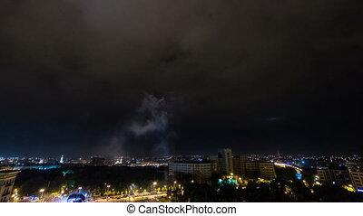 Kharkiv city from above night timelapse. Ukraine.