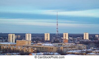 Kharkiv city from above timelapse at winter. Ukraine. -...