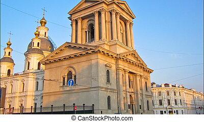 kharkiv, torre, ucrania, campana, sobor, suposición, ...