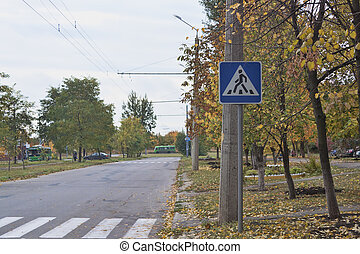 Road with sign Pedestrian crossing