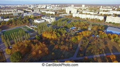 kharkiv, vue aérienne, résidentiel, parc, ukraine, secteur
