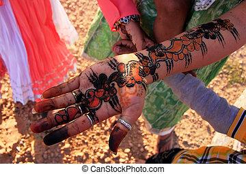 khichan, actuación, alheña, india, aldea, pintura, niña, ...