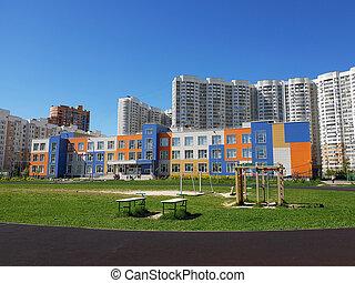 Khimki, Russia - modern middle School of General education...