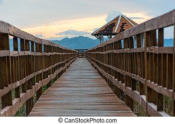 khiri, bridzs, kán, légvédelmi rakéta, roi, fából való, nemzeti park, hosszú, napnyugta, thaiföld, yot