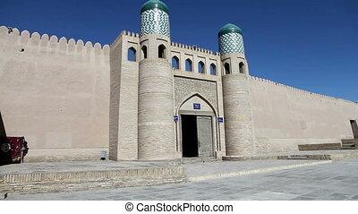 khiva., ville, uzbekistan., ancien, wall., portail, entrée