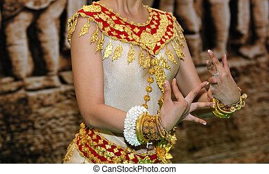 khmer, danse classique, cambodge, danseur, femelle transmet, mouvement