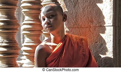 khmer monk portrait - cambodian monk in angkor wat temple