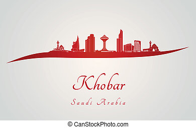 Khobar skyline in red and gray background in editable vector...