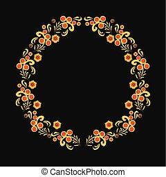 khokhloma floral ornament wreath