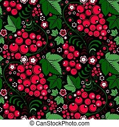 Khokhloma floral seamless pattern with berries