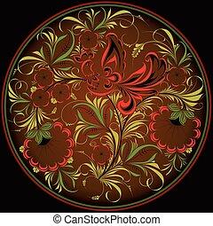 Khokhloma pattern in a circle