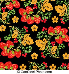 Khokhloma seamless pattern with berries and leaves on black background.