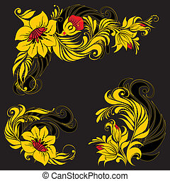 Khokhloma - Vector floral ornament in traditional russian...