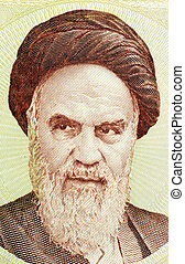 Khomeini on 1000 rials banknote from Iran. Sayyid Ruhollah...