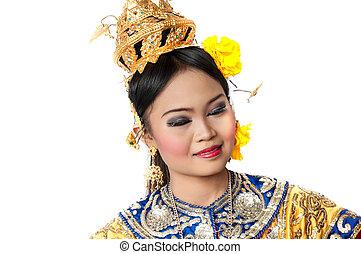 """khon"", 藝術, 女性, 跳舞, 跳舞, 類別, 曼谷, 高, 工作室, 背景, 泰國, thailand., 白色, siam"