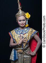 """khon"", 藝術, 跳舞, 跳舞, 曼谷, 高, 泰國,  Siam, 類別"