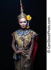 """khon"", 跳舞, 藝術, 泰國"