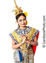 """""""khon"""", művészet, tánc, táncol,  Bangkok, magas, thaiföld, sziám, osztály"""