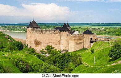 Khotyn castle on Dniester riverside. Ukraine
