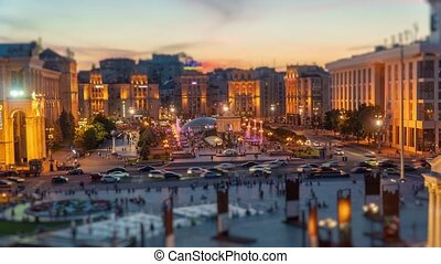 Khreshchatyk street and Independence Square in Kyiv Kiev,...