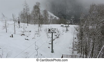 khutor, rosa, recours, ascenseur, chaise, ski, alpin