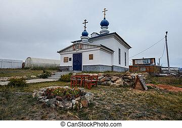 khuzir, orthodoxe, russe, olkhon, église, russie