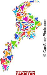 Khyber Pakhtunkhwa Province Map - Mosaic of Color Triangles