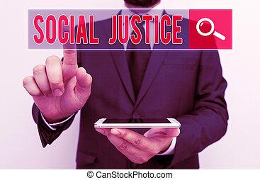 kiállítás, ügy, társadalmi, jegyzet, fénykép, vagyon, írás, belül, justice., egyenlő, belépés, showcasing, society., előjogok