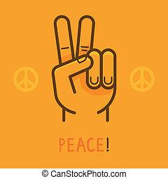kiállítás, béke, -, ujjak, két, vektor, kezezés cégtábla