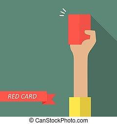 kiállítás, játékvezető, kártya, piros, kéz