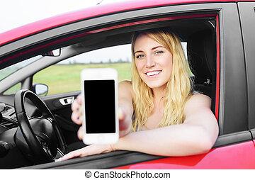 kiállítás, nő, sofőr, neki, smartphone.