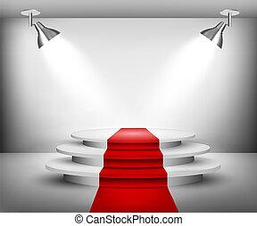 kiállítási terem, carpet., piros, vector.
