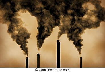 kiáramlások, globális, gyár, melegítés, szennyezés