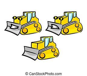 kiásás, earthwork, bulldózer, szállít, betű, talajgyalu, ábra, traktor, vektor, tervezés, jel, karikatúra, szerkesztés, szállítás, design.