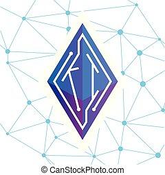 KI Initial letter block chain logo icon vector template....