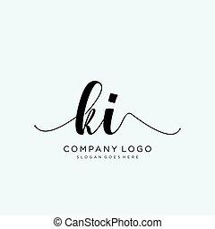 ki, iniziale, scrittura, logotipo, sagoma, vettore, cerchio
