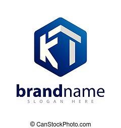 ki, iniziale, vettore, lettera, logotipo, esagonale