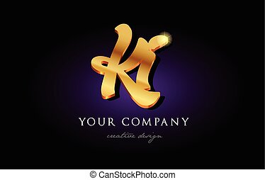 Ki K I 3d Gold Golden Alphabet Letter Metal Logo Icon Design Handwritten Typography