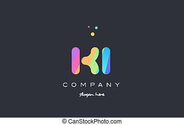 ki k i colored rainbow creative colors alphabet letter logo...