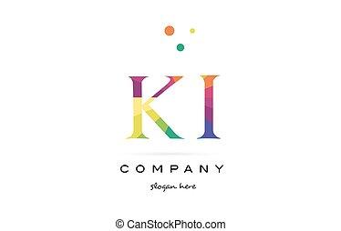 ki k i creative rainbow colors alphabet letter logo icon -...