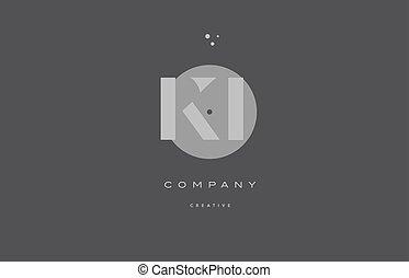 ki k i grey modern alphabet company letter logo icon - ki k...