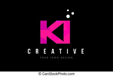 KI K I Letter Logo with Purple Low Poly Pink Triangles...