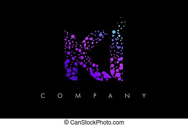 KI K I Letter Logo with Purple Particles and Bubble Dots -...