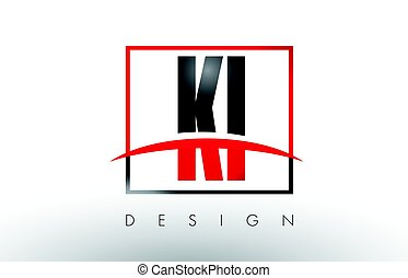 KI K I Logo Letters with Red and Black Colors and Swoosh....