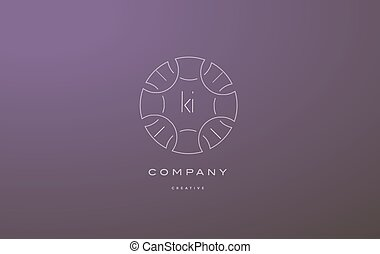 ki k i monogram floral line art flower letter company logo...