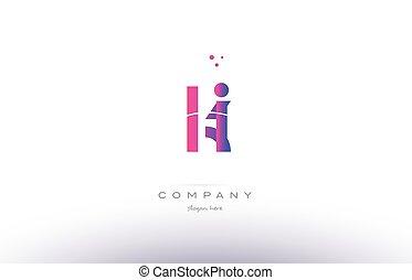 ki k i pink modern creative alphabet letter logo icon...