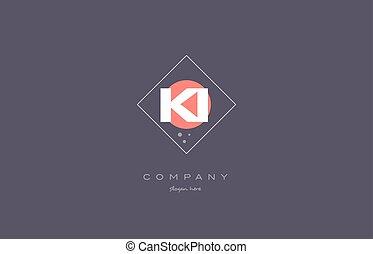 ki k i vintage retro pink purple alphabet letter logo icon...