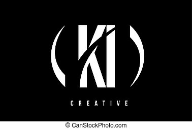 KI K I White Letter Logo Design with Black Background. - KI...