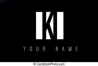 KI Letter Logo With Black and White Negative Space Design. -...