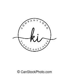 ki, vettore, cerchio, iniziale, scrittura, sagoma, logotipo